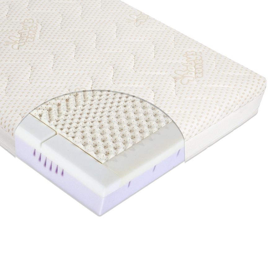 Materac do łóżeczka MODIO CLIMALATEX 120cm x 60cm z pokrowcem Amicor + Klin
