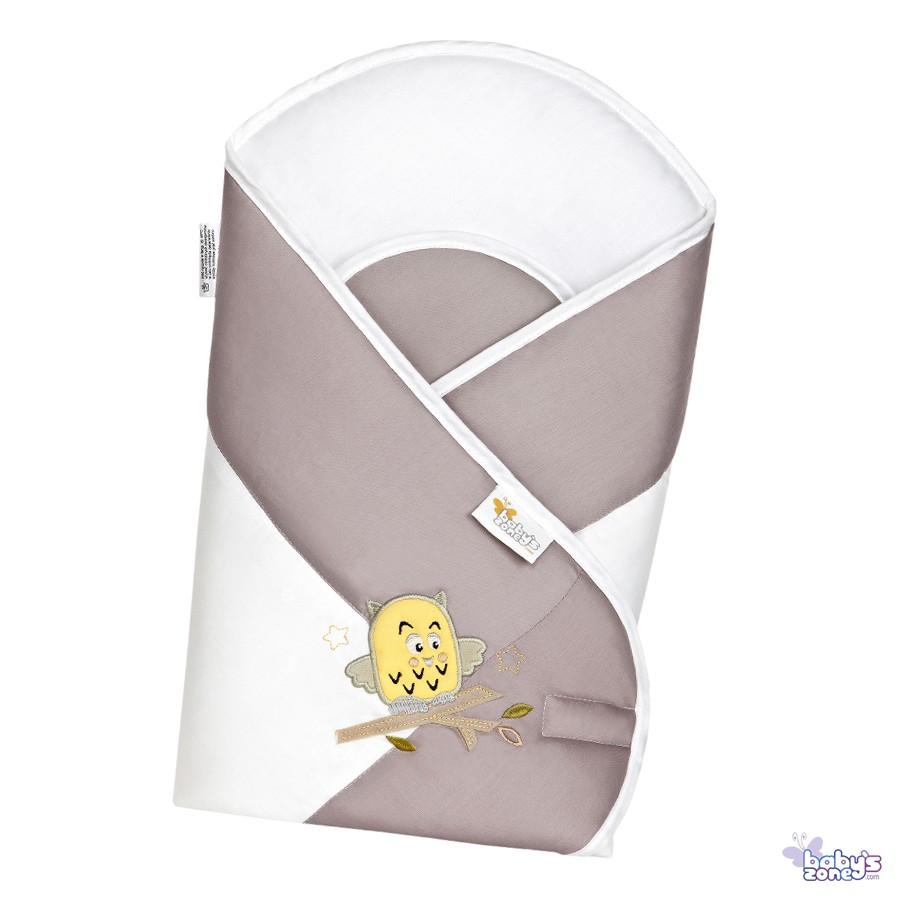 Sówki ecru - Becik Rożek dla niemowląt