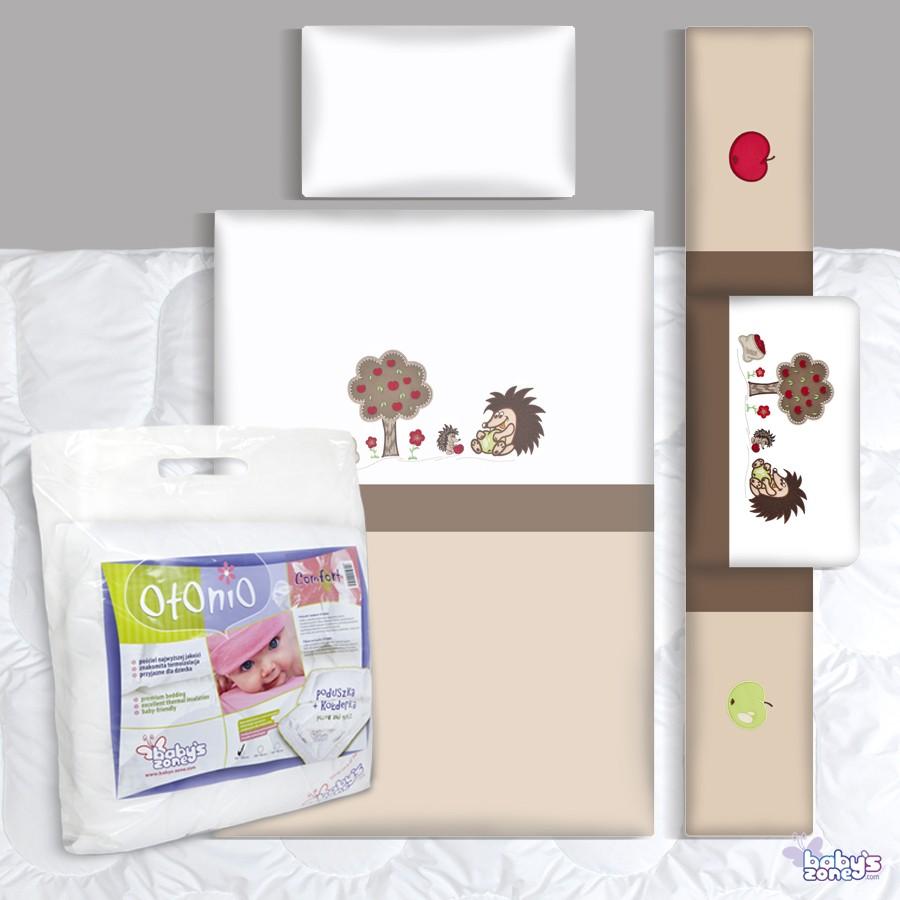 Zestaw Baby's Zone - JEŻYKI ECRU-BRĄZ 3 elementowa pościel dla dziecka  + OTONIO - COMFORT Kołderka z poduszką 135cm x 100cm