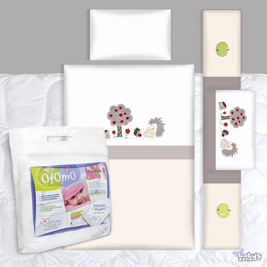 Zestaw Baby's Zone - JEŻYKI ECRU-SZARY 3 elementowa pościel dla dziecka  + OTONIO - COMFORT Kołderka z poduszką 135cm x 100cm