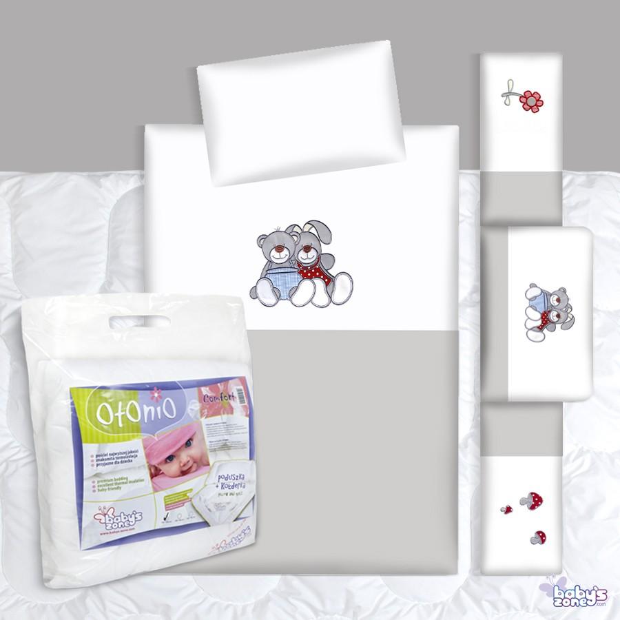 Zestaw Baby's Zone - MIŚ I ZAJĄCZEK 3 elementowa pościel dla dziecka  + OTONIO - COMFORT Kołderka z poduszką 135cm x 100cm