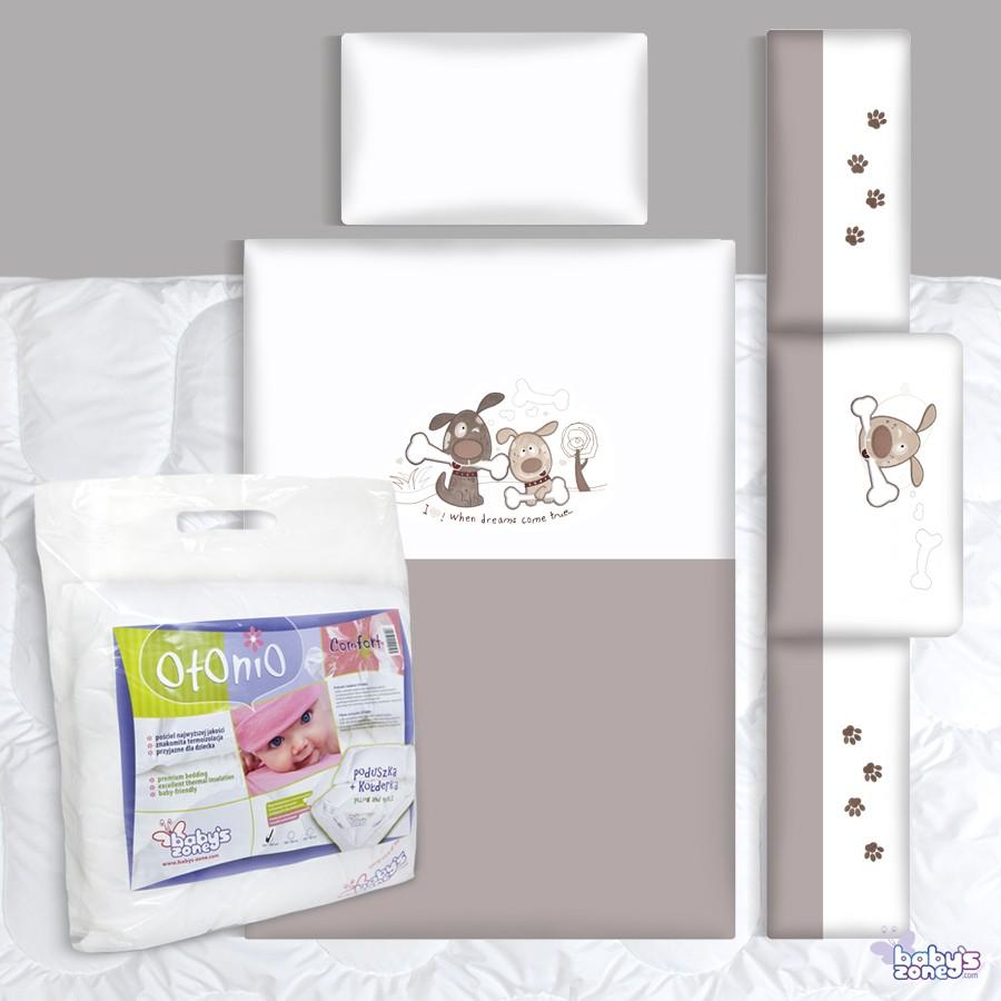 Zestaw Baby's Zone - PIESKI DWA SZARE 3 elementowa pościel dla dziecka  + OTONIO - COMFORT Kołderka z poduszką 135cm x 100cm