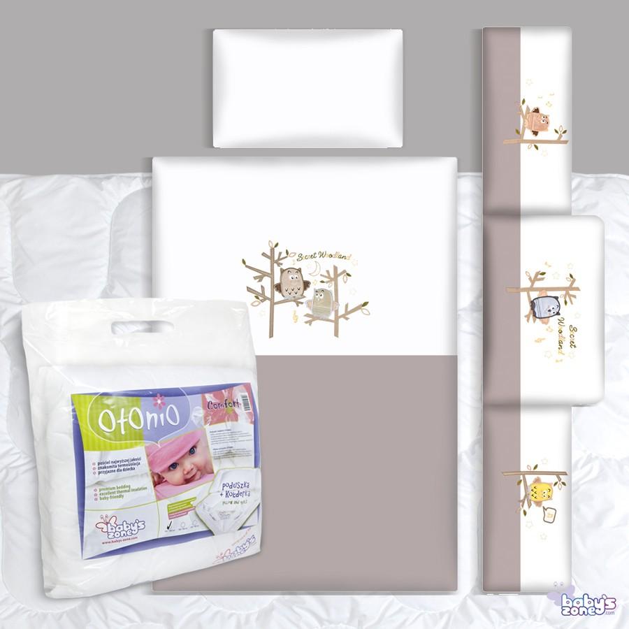 Zestaw Baby's Zone - SÓWKI ECRU 3 elementowa pościel dla dziecka  + OTONIO - COMFORT Kołderka z poduszką 135cm x 100cm