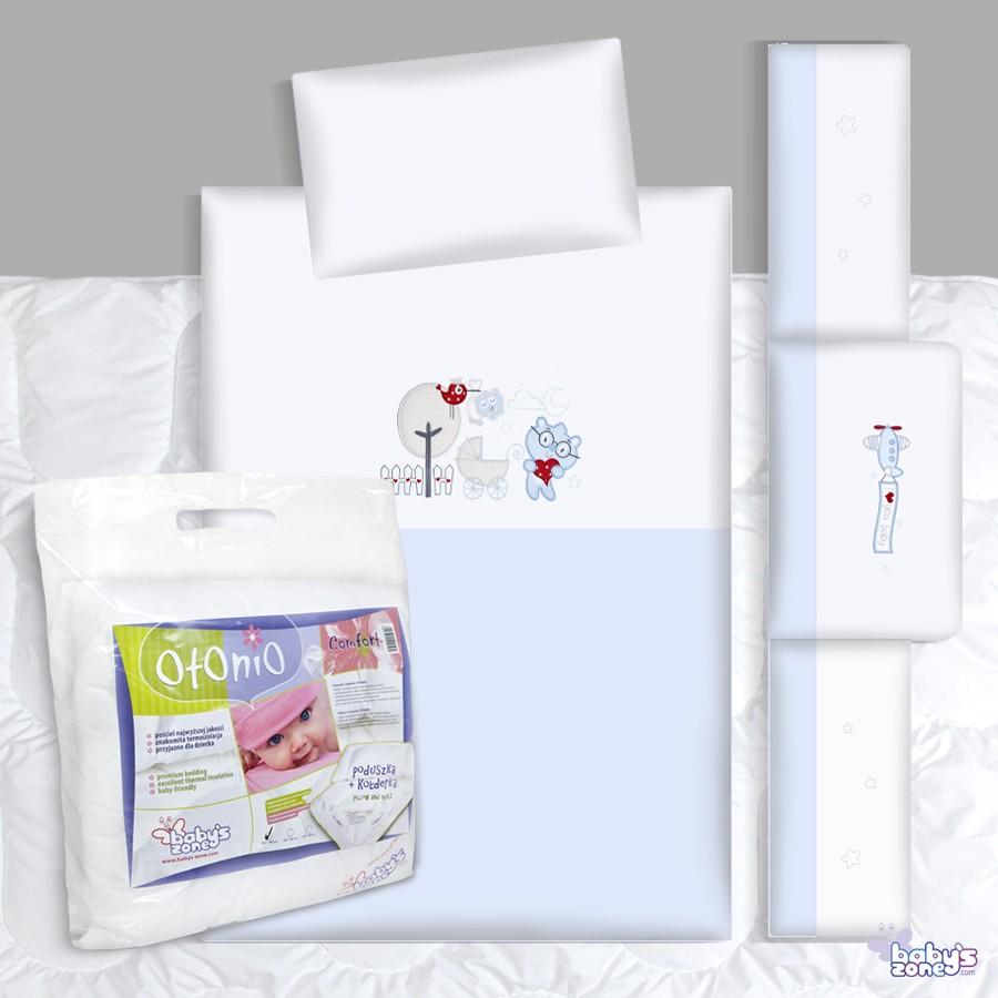 Zestaw Baby's Zone - WÓZEK II NIEBIESKI 3 elementowa pościel dla dziecka  + OTONIO - COMFORT Kołderka z poduszką 135cm x 100cm