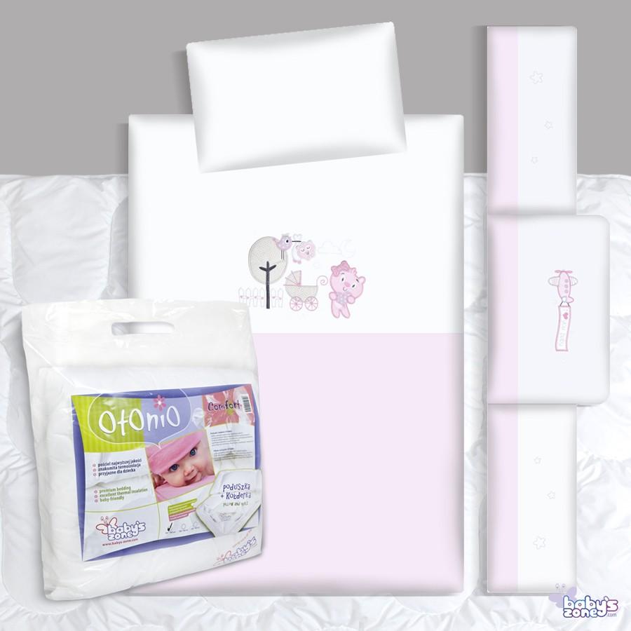 Zestaw Baby's Zone - WÓZEK II RÓŻOWY 3 elementowa pościel dla dziecka  + OTONIO - COMFORT Kołderka z poduszką 135cm x 100cm