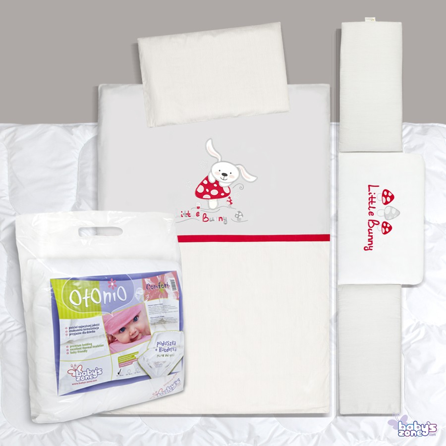 Zestaw Baby's Zone - ZAJĄC MUCHOMOR 3 elementowa pościel dla dziecka  + OTONIO - COMFORT Kołderka z poduszką 135cm x 100cm